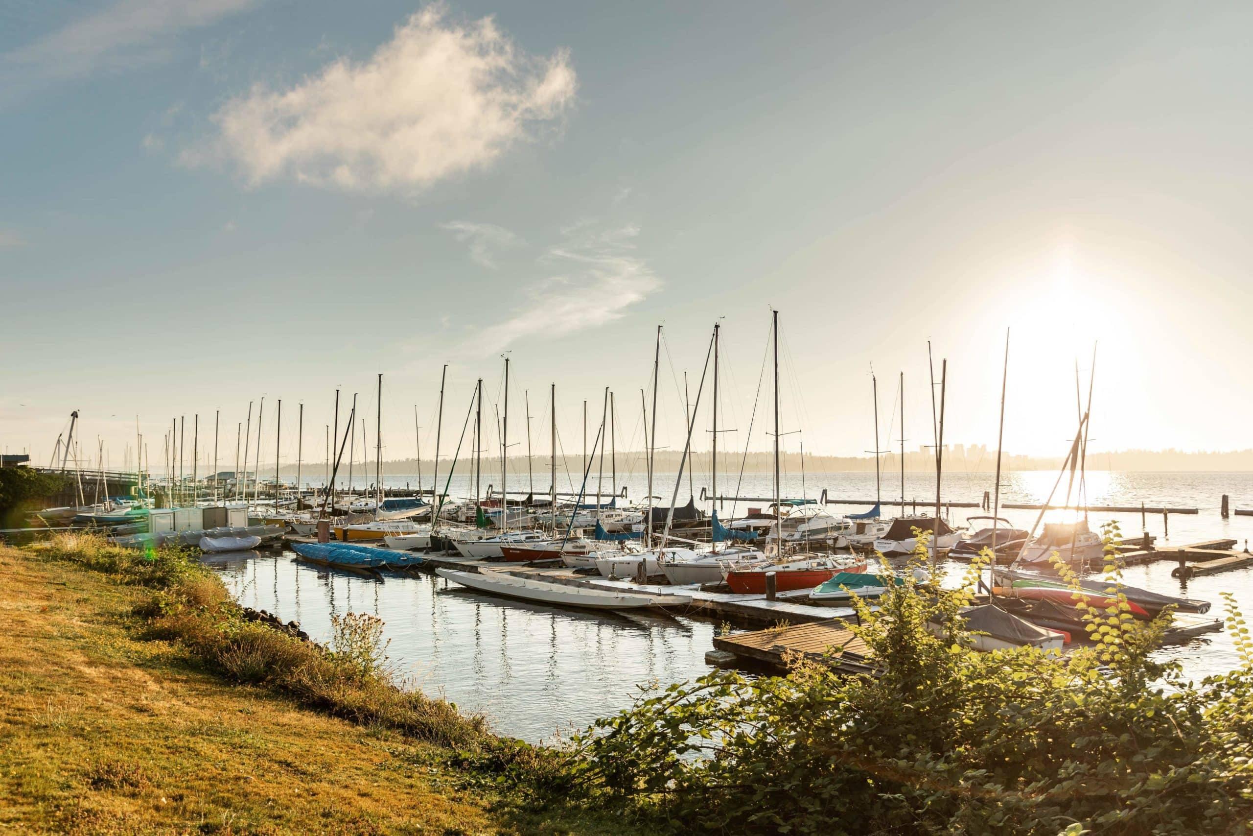 A marina on Lake Washington in Seattle's Leschi neighborhood